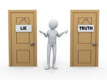 3d person and truth lie door Stock Photos