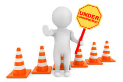 3d person with Under Construction banner and traffic cones. On a white background Stock Photo