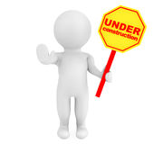 3d person with Under Construction banner. On a white background Royalty Free Stock Photo