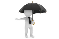 3d person under the protection umbrella. On a white background Royalty Free Stock Image