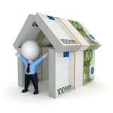 3d person under the roof of euro. Royalty Free Stock Photos