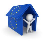 3d person under the roof made od EU flags. Royalty Free Stock Photography
