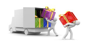 3d person unload car with gift Royalty Free Stock Image