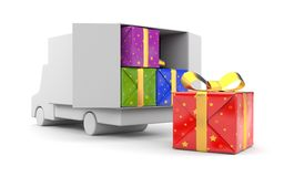 3d person unload car with gift Stock Image