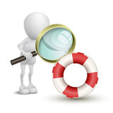 3d person watching a buoy with a magnifying glass. Over white background royalty free illustration