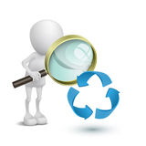 3d person watching the recycling symbol. With a magnifying glass Stock Images
