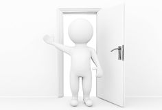 3d person welcome and invites in open door. Welcome concept. 3d person welcome and invites in open door Royalty Free Stock Photography