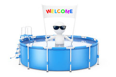 3d Person with Welcome Placard Banner in Blue Portable Outdoor R. 3d Person with Weclome Placard Banner in Blue Portable Outdoor Round Swimming Water Pool with Stock Images