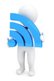 3d Person with Wi-Fi Sign Royalty Free Stock Photo