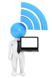 3d Person with WiFi sign and Laptop. On a white background Royalty Free Stock Photos