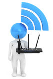 3d Person with WiFi sign and router Stock Photography