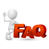 3d person and word FAQ ( Frequently Asked Questions ). White background Royalty Free Stock Images