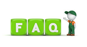 3D person with a word FAQ Royalty Free Stock Photos