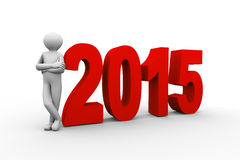 3d person with year 2015 Royalty Free Stock Photos