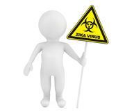 3d Person with Zika biohazard sign. 3d Rendering. 3d Person with Zika biohazard sign on a white background. 3d Rendering Stock Photo