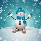 3d personaggio dei cartoni animati, pupazzo di neve divertente di corsa con gli sci Fotografia Stock