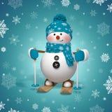 3d personaggio dei cartoni animati, pupazzo di neve divertente di corsa con gli sci Immagine Stock Libera da Diritti