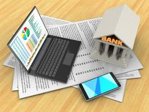 3d personal computer. 3d illustration of papers and personal computer over wood table background with bank Royalty Free Stock Photography