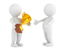 3d Persons with a Gold Trophy in hands Royalty Free Stock Images