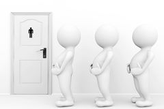 3d persons mans need a toilet. Waiting in front of restroom sign Royalty Free Stock Image