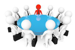 3d persons meeting at conference table. On a white background Royalty Free Stock Images
