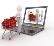 3d persons pushing a trolleys with red hearts out of laptop. Stock Photos