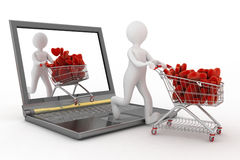 3d persons pushing a trolleys with red hearts out of laptop. Royalty Free Stock Image