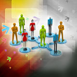 3d persons in social network. 3d image. Royalty Free Stock Photos
