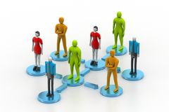 3d persons in social network Royalty Free Stock Photo