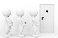 3d persons womans need a toilet. Waiting in front of restroom sign Royalty Free Stock Images