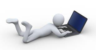 3d persoon die aan laptop werken Royalty-vrije Stock Afbeeldingen