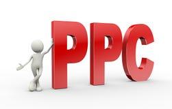 3d persoon die zich met ppc bevinden betaalt per klik Stock Foto's