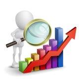 3d persoon met een financiële grafiek en meer magnifier Stock Foto