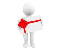 3d Persoon met een Giftkaart Stock Foto
