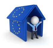 3d persoon onder het dak gemaakt tot od de vlaggen van de EU. Stock Foto's