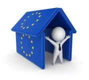 3d persoon onder het dak gemaakt tot od de vlaggen van de EU. Royalty-vrije Stock Fotografie