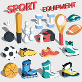 3d perspective flat sport equipment vector Stock Photos