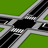 3D pespective crossroad with crosswalks Royalty Free Stock Photography
