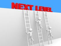 3d pessoa - homem, pessoa com escada Nível seguinte Conce do progresso Imagem de Stock Royalty Free