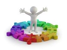 3d petites personnes - anneau de puzzle Photo stock