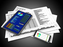 3d phone. 3d illustration of business charts and tablet over black background Royalty Free Stock Image
