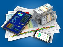 3d phone. 3d illustration of business documents and tablet over blue background with money Stock Photos