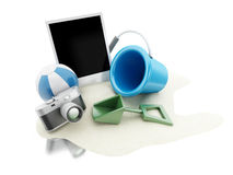 3d Photo, camera and beach toys. Travel concept. Royalty Free Stock Photo