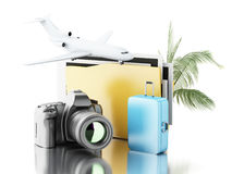 3d Photo camera with folder, airplane and suitcase. 3d renderer image. Photo camera with folder, airplane and suitcase. Travel concept. Isolated white Stock Photo