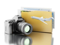 3d Photo camera with folder. Photo album. Royalty Free Stock Images