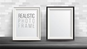 3d Photo Frame Set Vector. Good For Your Presentations. Brick Wall Background. Interior Background Illustration. Royalty Free Stock Photography