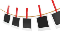 3d photo frames hanging on the clothesline. Stock Photos