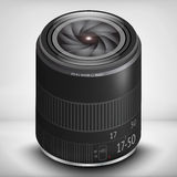 3d photo lens EPS 10. Black 3d photo lens with flare EPS 10 Stock Images