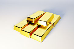 3d photo stylized image of golden bars Stock Photos
