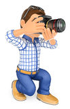 3D Photographer kneeling with his SLR camera. 3d working people. Photographer kneeling with his SLR camera. White background Stock Photo